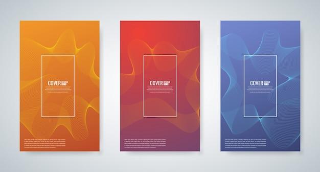 Sammlung von minimalen cover-vorlagen mit abstrakten wellenlinie, vektor-illustration Premium Vektoren