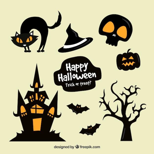 Sammlung von minimalistischen halloween-aufklebern in orange und schwarz Kostenlosen Vektoren