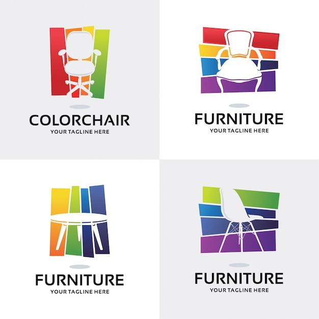 Sammlung von möbeln logo set design template Premium Vektoren