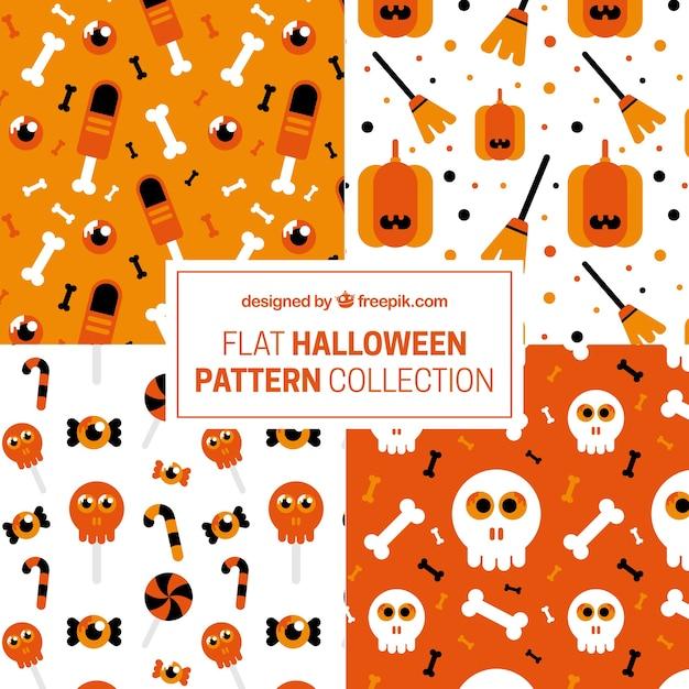Sammlung von mustern in flachen stil für halloween Kostenlosen Vektoren