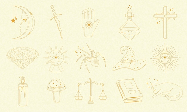 Sammlung von mystischen und astrologischen objekten, katze, buch, kerze, schwert, magischer ball, sonne, spinne und anderen, menschlichen händen. Premium Vektoren