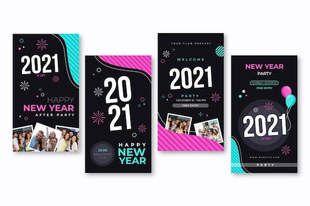 Sammlung von neujahrs-social-media-geschichten Kostenlosen Vektoren