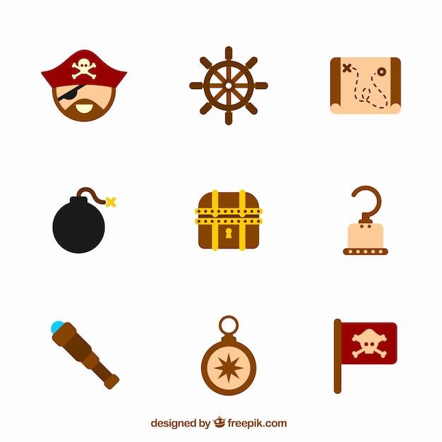 Sammlung von neun piratenelementen Kostenlosen Vektoren