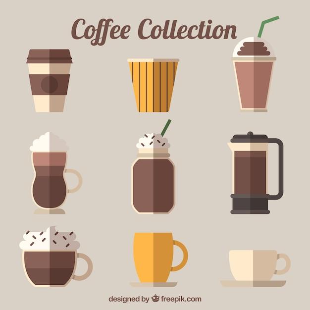 Sammlung von neun verschiedenen kaffeesorten Kostenlosen Vektoren