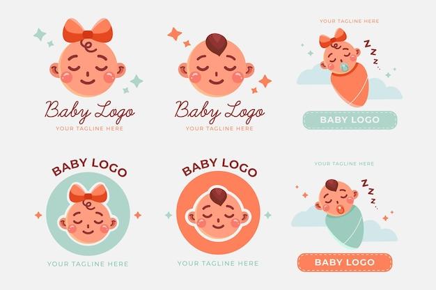Sammlung von niedlichen baby-logos Kostenlosen Vektoren