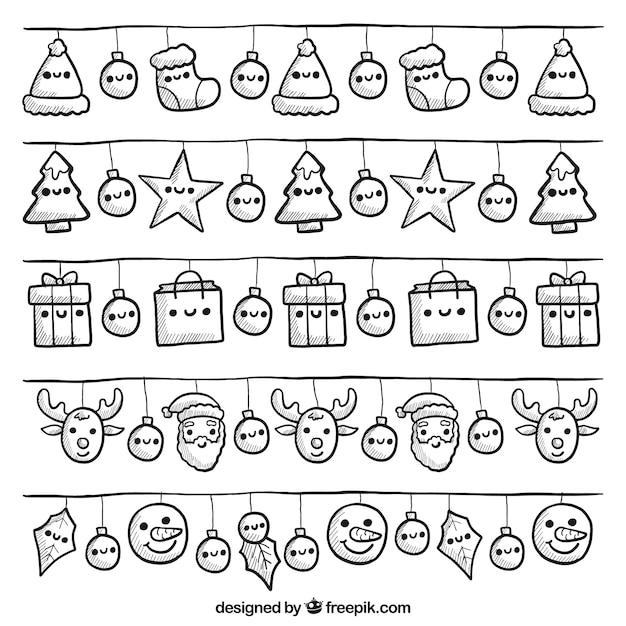 Sammlung von niedlichen weihnachtsbeleuchtung mit lächelnden gesichtern Kostenlosen Vektoren