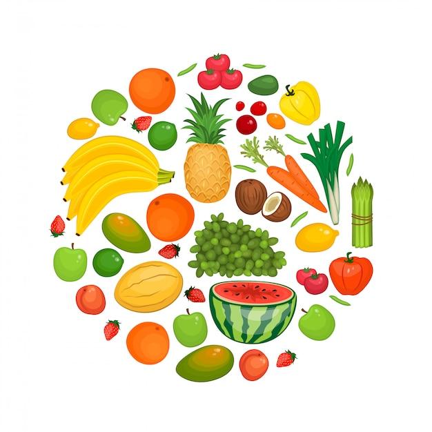 Sammlung von obst und gemüse wohnung s Premium Vektoren