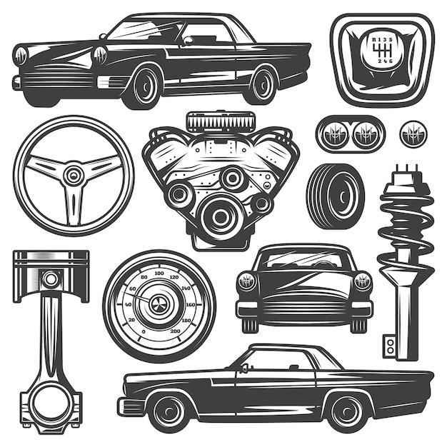 Sammlung von oldtimer-komponenten mit automobilmotor motor kolben lenkrad reifen scheinwerfer tacho getriebe stoßdämpfer isoliert Kostenlosen Vektoren