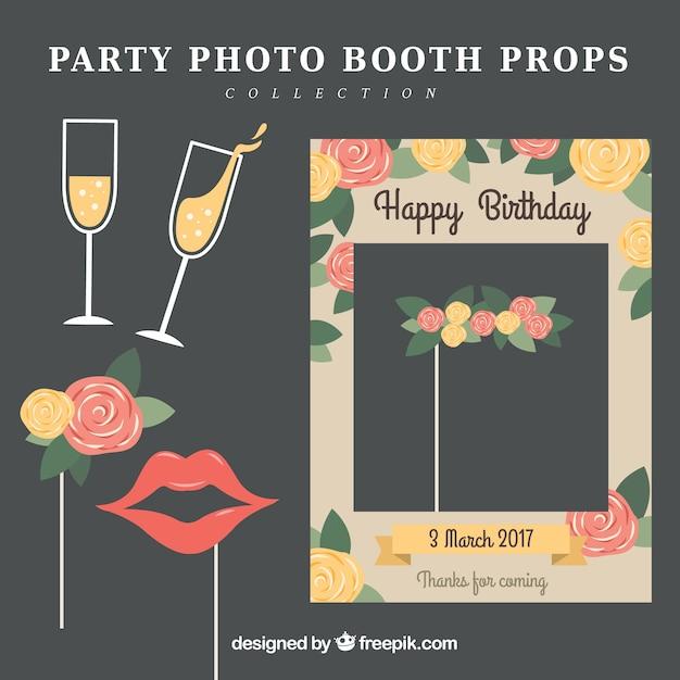 Sammlung von party fotokabine requisiten Kostenlosen Vektoren