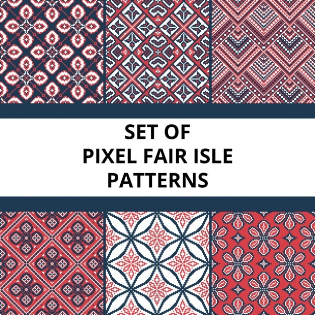 sammlung von pixel retro nahtlose muster mit stilisierten fair isle ornament vektor illustration. Black Bedroom Furniture Sets. Home Design Ideas