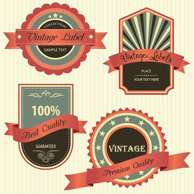 Sammlung von premium-qualität mit retro-vintage-design Premium Vektoren