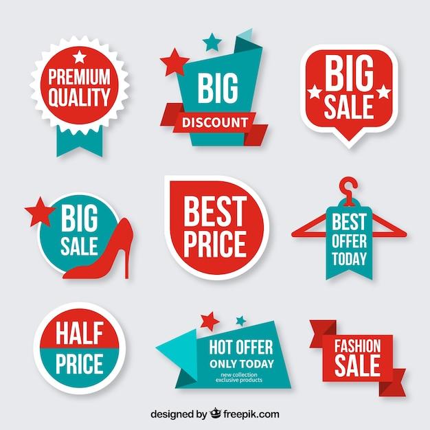 Sammlung von Rabatt Abzeichen Premium Vektoren