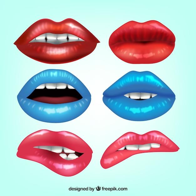 Sammlung von realistischen lippen Kostenlosen Vektoren