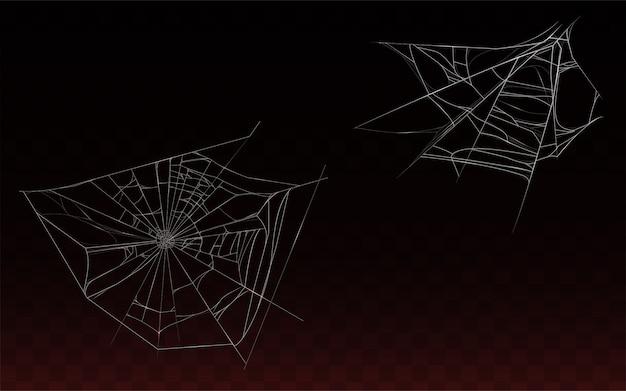 Sammlung von realistischen spinnennetz, spinnennetz auf dunklem hintergrund isoliert. Kostenlosen Vektoren