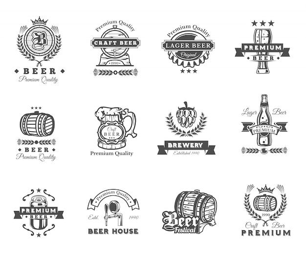 Sammlung von retro-bier embleme, abzeichen, aufkleber Kostenlosen Vektoren