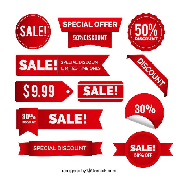 Sammlung von roten Aufklebern Rabatt Kostenlose Vektoren