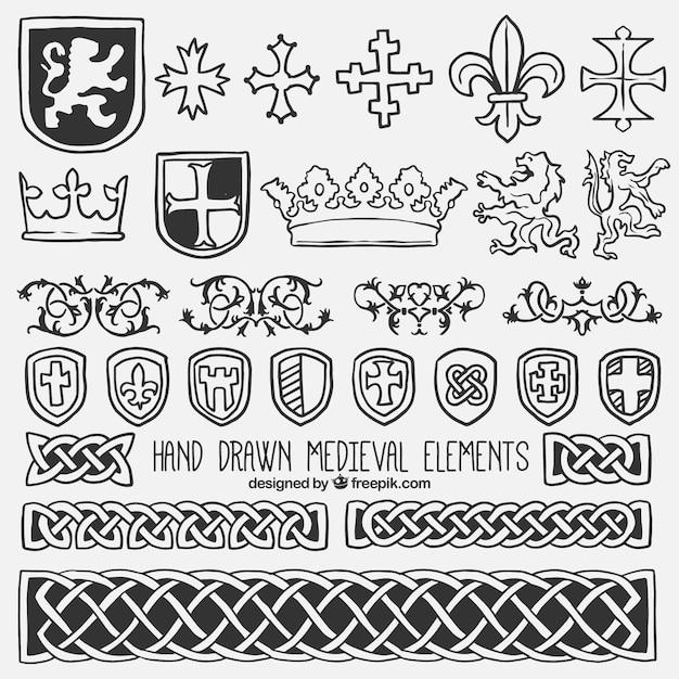 Sammlung von schild und mittelalterliche element Kostenlosen Vektoren