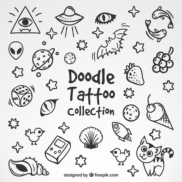 Sammlung von schönen skizzen tattoos Kostenlosen Vektoren
