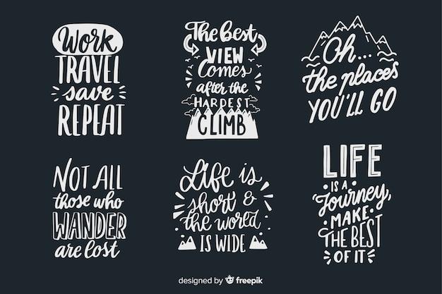 Sammlung von schriftzug reiseabzeichen Kostenlosen Vektoren