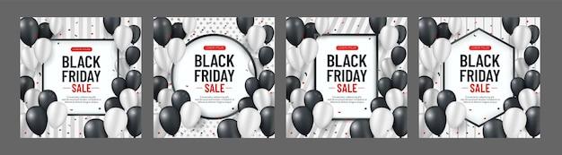 Sammlung von schwarzen freitag-verkaufsfahne mit weißen und schwarzen luftballons und serpentin Premium Vektoren