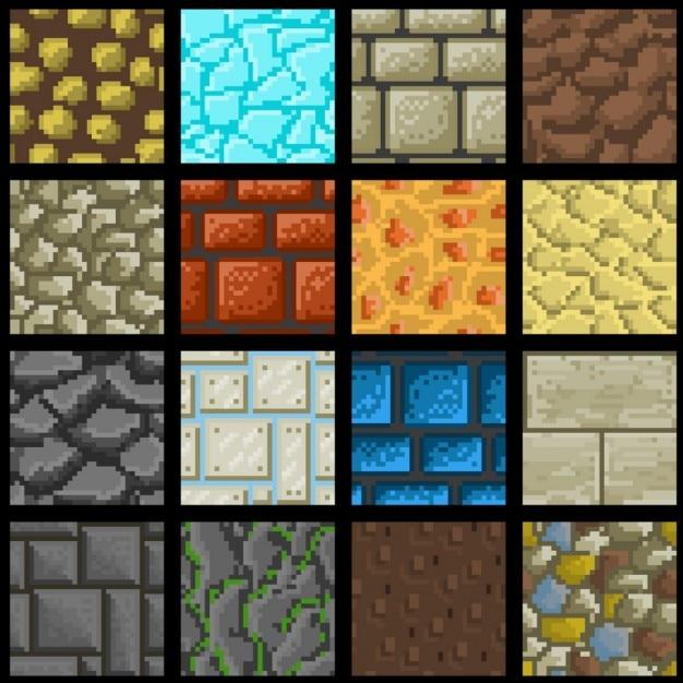 Sammlung Von Sechzehn Nahtlose Vektor Pixel Bodentexturen Download