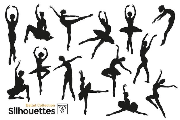 Sammlung von silhouetten von frauen, die ballett tanzen. isolierte silhouetten. Premium Vektoren