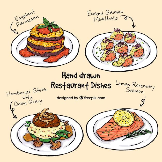 Sammlung von skizzen köstliches menü Kostenlosen Vektoren