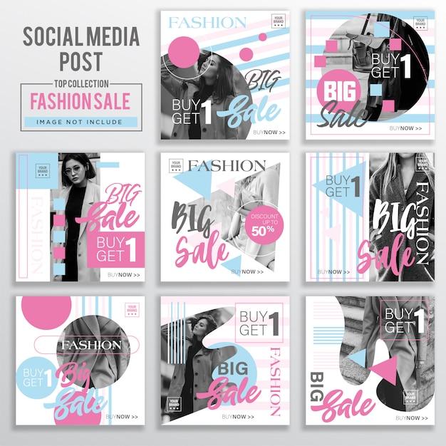 Sammlung von social media post design-vorlage Premium Vektoren