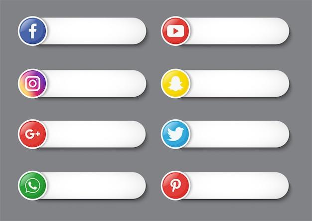 Sammlung von social media unteren drittel isoliert auf grauem hintergrund. Premium Vektoren