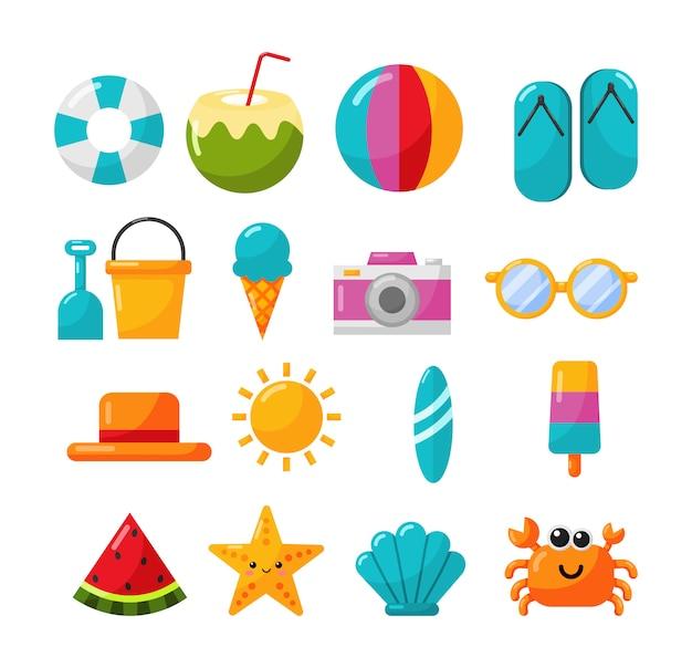 Sammlung von sommer-icons auf weiß zu isolieren Premium Vektoren