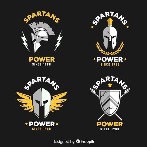 Sammlung von spartanischen abzeichen Kostenlosen Vektoren