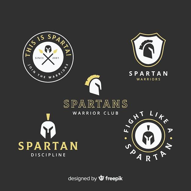 Sammlung von spartanischen etiketten Kostenlosen Vektoren