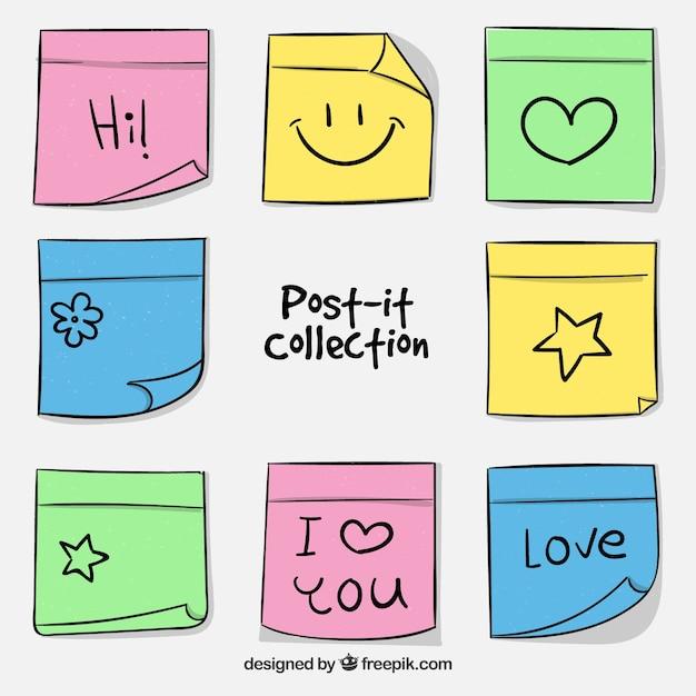 Sammlung von Spaß Post-it Kostenlose Vektoren