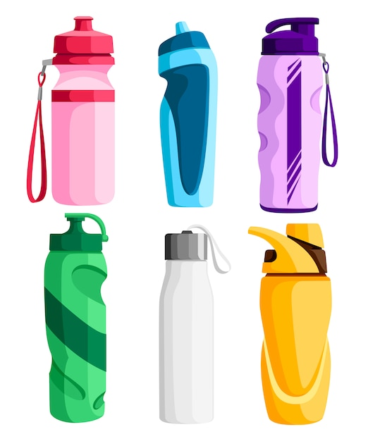 Sammlung von sportflaschen. fahrrad plastikflasche. outdoor-aktivitäten. verschiedene formen von wasserbehältern. illustration auf weißem hintergrund Premium Vektoren
