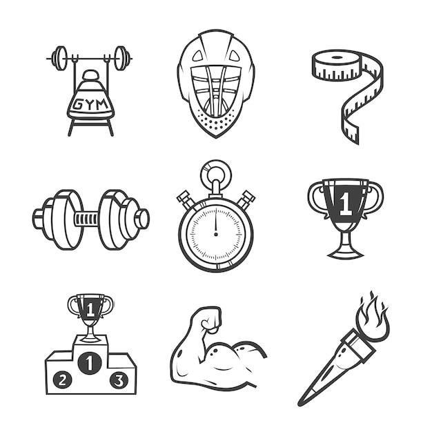 Sammlung von sportikonen. sportausrüstung. symbole auf weißem hintergrund eingestellt. Premium Vektoren