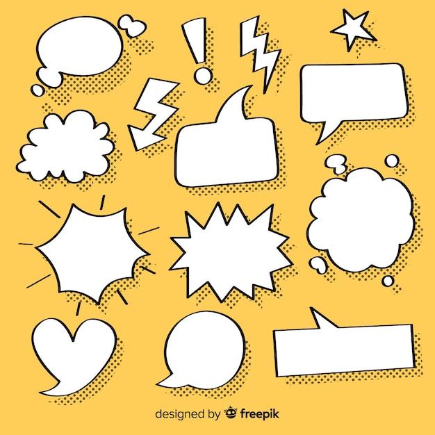 Sammlung von sprechblasen für comics Kostenlosen Vektoren