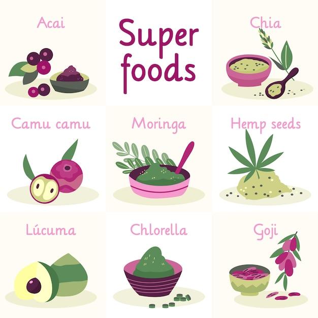 Sammlung von superfood-illustrationen Premium Vektoren