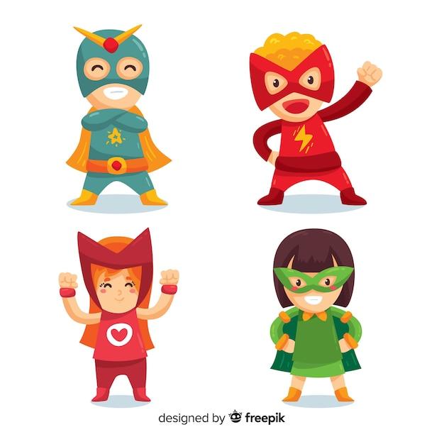Sammlung von superhelden-kinder Kostenlosen Vektoren