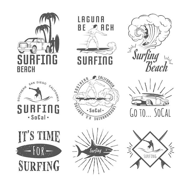 Sammlung von surf-abzeichen Premium Vektoren