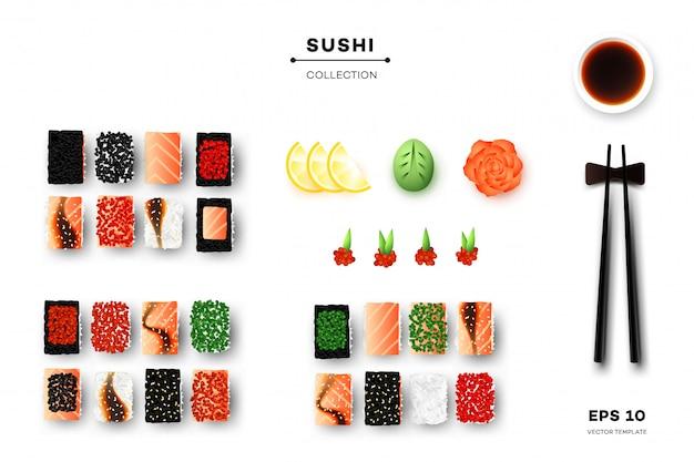 Sammlung von sushi-rollen. Premium Vektoren