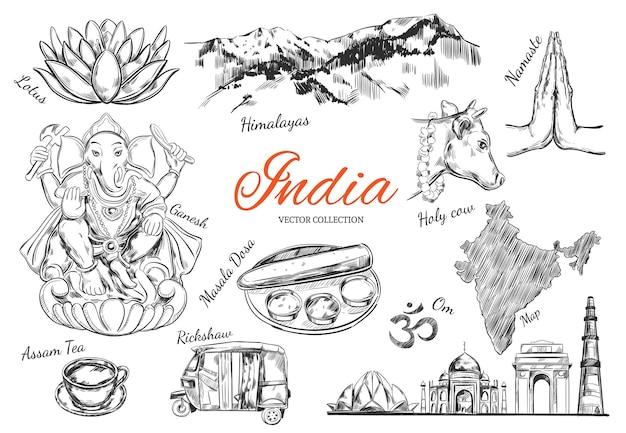 Sammlung von symbolen indiens isoliert auf weiß Premium Vektoren