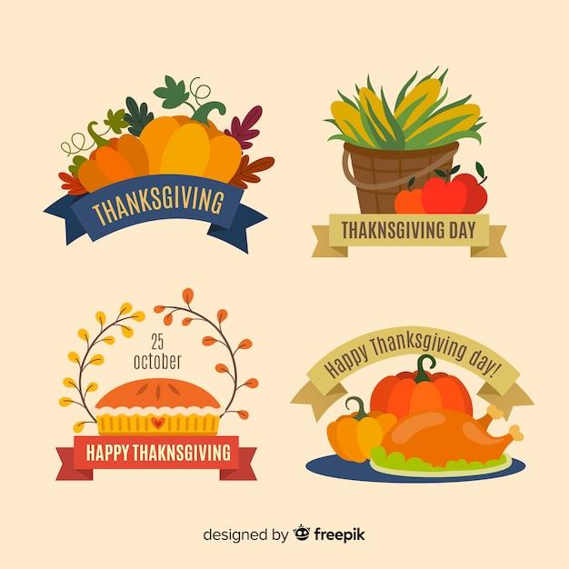 Sammlung von thanksgiving-label in flaches design Kostenlosen Vektoren