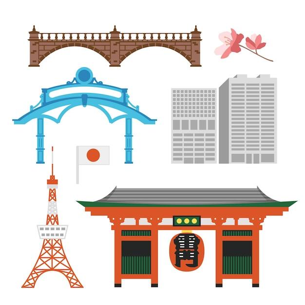 Sammlung von tokio-sehenswürdigkeiten Premium Vektoren