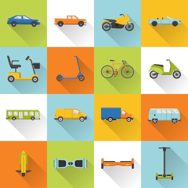 Sammlung von transport-icons im flachen stil Premium Vektoren