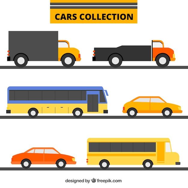 Sammlung von transporten in flaches design Kostenlosen Vektoren