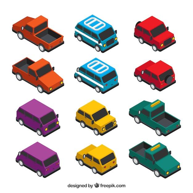 Sammlung von Transporten in kubisch-Stil Kostenlose Vektoren