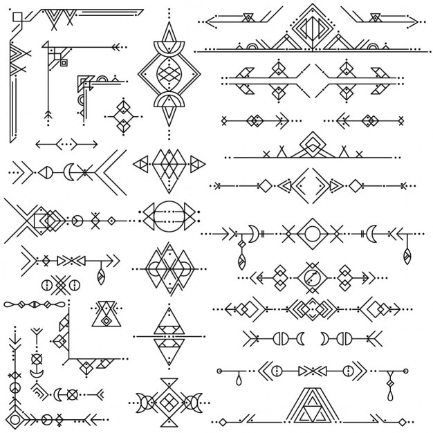 Sammlung von vektor-geometrischen linie kunst-design-elemente Kostenlosen Vektoren