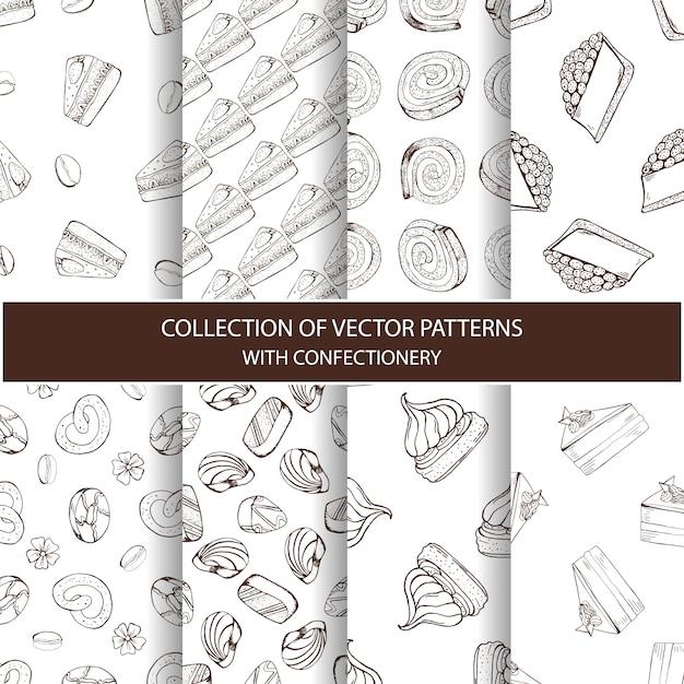 Sammlung von vektormustern mit süßwaren Premium Vektoren