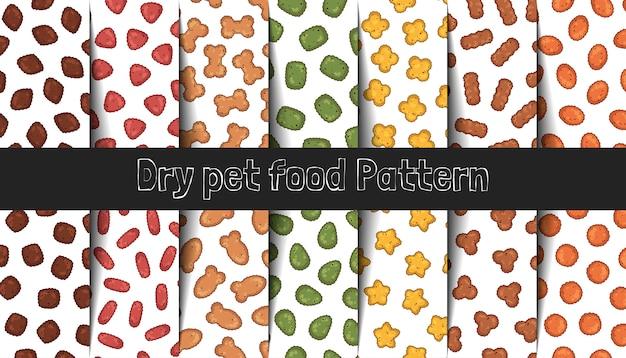 Sammlung von vektormustern. trockenfutter für katzen und hunde. Premium Vektoren