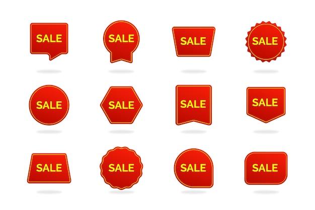 Sammlung von verkaufsaufkleber Premium Vektoren